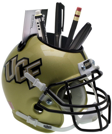 UCF Knights (University of Central Florida) Gold NCAA Football Schutt Mini Helmet Desk Caddy