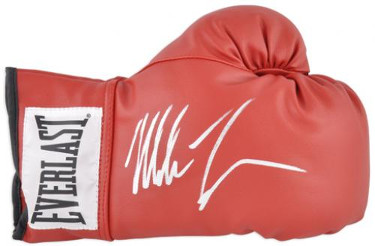 Mike Tyson signed Everlast White Label Red Right Boxing Glove (silver sig)- Tri-Star Hologram (Heavyweight Champ)