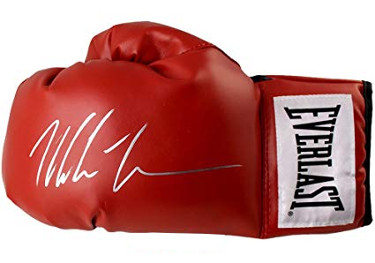 Mike Tyson signed Everlast White Label Red Left Boxing Glove (silver sig)- Tri-Star Hologram (Heavyweight Champ)