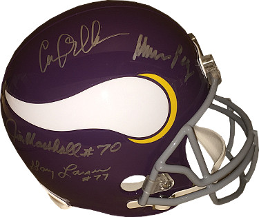 Purple People Eaters signed Minnesota Vikings Full Size TB Replica Helmet- 4 sigs-Carl Eller/Alan Page- JSA Hologram #V92531
