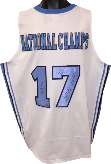 2016-17 North Carolina Tar Heels National Champs signed College Custom Jersey 4 sigs- Isiah Hicks/Nate Britt/Stilman White- JSA