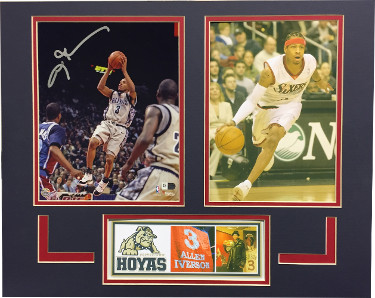 Allen Iverson signed Georgetown Hoyas 8x10 Photo Matted Tribute (16x20) w/ 76ers Photo- Fanatics Hologram