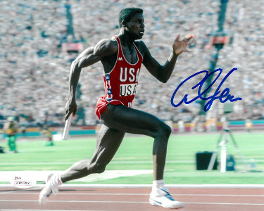 Carl Lewis signed Team USA 8x10 Photo (relay)- JSA Witnessed Hologram (Olympics)