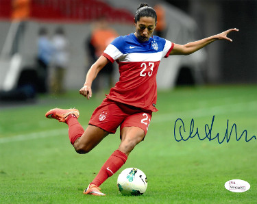Christen Press signed 8x10 Photo Team USA World Cup (red jersey)- JSA Witnessed Hologram (Women's Soccer Team)