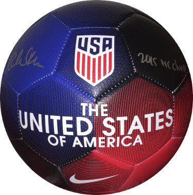 Christen Press signed Nike Red/Blue Official Size 5 Soccer Ball 2015 WC Champs- JSA Witnessed Holo (Olympics Team USA World Cup)