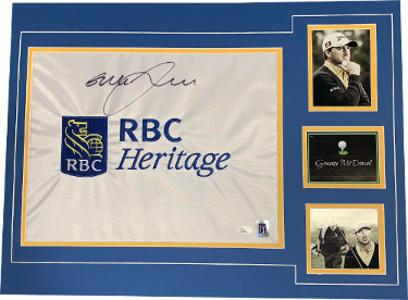 Graeme McDowell signed RBC Heritage PGA Tour Embroidered Golf Pin Flag Matting w/ 2 Photos (18x24)- JSA Hologram #DD39372