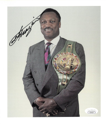 Joe Frazier signed Boxing 8x10 Photo (w/ WBC Championship Belt)- JSA Hologram #CC08526