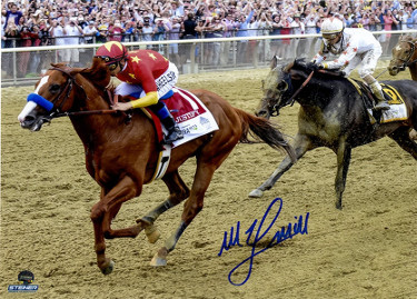 Mike E. Smith signed Justify 2018 Belmont Stakes 8x10 Photo Triple Crown-  Steiner Hologram