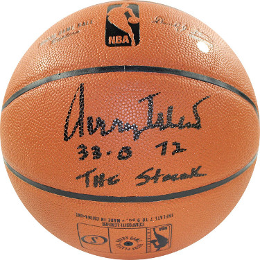 Jerry West signed Spalding NBA Indoor/Outdoor Basketball 32-0, 72, The Streak- Steiner Hologram (Los Angeles Lakers)