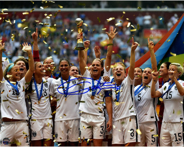 Christie Rampone signed Team USA 2015 Women's World Cup Soccer Final Champions Celebration 8x10 Photo- Steiner Hologram
