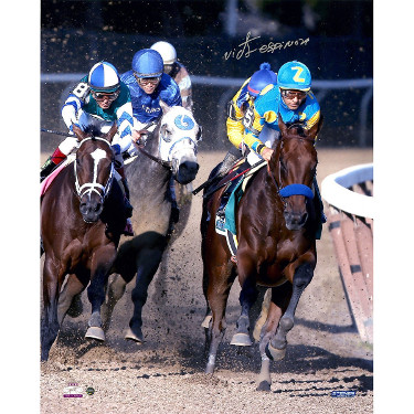 American Pharoah signed 16x20 Photo 2015 Belmont Stakes Ahead of Pack Horse Racing Triple Crown w/ Victor Espinoza- Steiner Holo