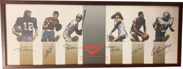 Pony Collage signed 14x38 Framing w/ Ken Stabler/Joe Frazier/Rod Carew/Tracy Austin/Willis Reed/Earl Campbell- JSA LOA #BB21410