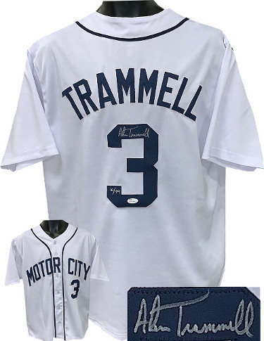 Alan Trammell signed White TB Custom Stitched Motor City Baseball Jersey LTD 99 XL- JSA Witnessed Hologram
