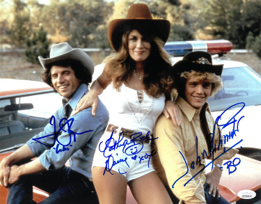 Dukes of Hazzard signed 3 Sig 11x14 Photo- Tom Wopat -Luke, John Schneider -Bo & Catherine Bach -Daisy- JSA Witnessed Hologram