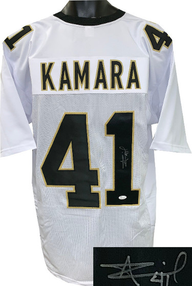 Alvin Kamara signed White Custom Stitched Pro Style Football Jersey #41 XL- JSA Witnessed Hologram