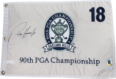 Padraig Harrington signed 2008 PGA Tour 90th Championship Embroidered white Golf Pin Flag #18 Oakland Hills - JSA Hologram