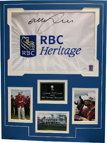 Graeme McDowell signed RBC Heritage PGA Tour Golf Pin Flag w/ 3 Photos (18x24) - JSA Hologram