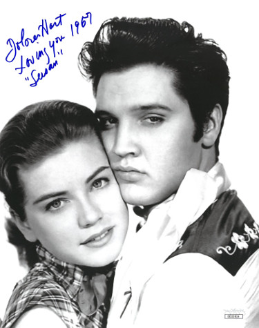 Dolores Hart signed Vintage B&W 8x10 Photo w/ Susan and Loving You 1957- JSA Hologram #DD32816 (w/ Elvis Presley)