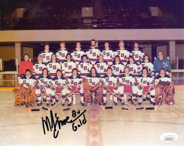 Mike Eruzione signed 1980 Team USA Olympic Hockey 8x10 Photo w/ 80 Gold- JSA Holo #DD32901 (Miracle on Ice- black sig)