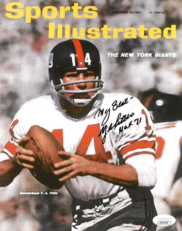 Y.A. (YA) Tittle signed New York Giants 1961 Sports Illustrated Cover 8X10 Photo My Best HOF 71- JSA Hologram #DD32908