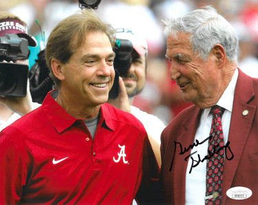 Gene Stallings signed Alabama Crimson Tide 8x10 Photo- JSA Hologram #DD39172 (w/ Nick Saban)
