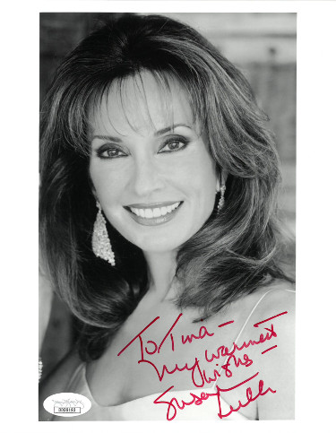 Susan Lucci signed B&W 7x9 Photo To Tina My Warmest Wishes- JSA Hologram #DD39193 (All My Children/Erica Kane)