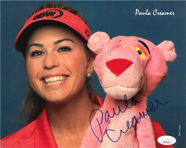 Paula Creamer signed LPGA Ladies Golf Solheim Cup Pink Panther 8x10 Photo- JSA Hologram #DD39313