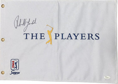 Phil Mickelson signed The Players Championship TPC Sawgrass Embroidered PGA Golf Pin Flag - JSA Hologram #Z70700