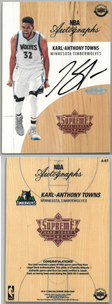 Karl-Anthony Towns signed Minnesota Timberwolves 2016-17 NBA Game Used Supreme Hard Court Floor Board (A-KT)- Upper Deck Holo