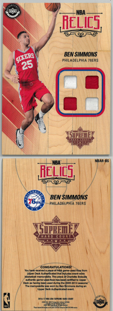 Ben Simmons Philadelphia 76ers 2016-17 Upper Deck Supreme Hard Court Floor Board Jersey Relic Rookie RC (NBAR-BS)