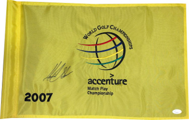 Henrik Stenson signed Accenture World Golf Championship PGA Tour Golf Pin Flag- JSA Hologram