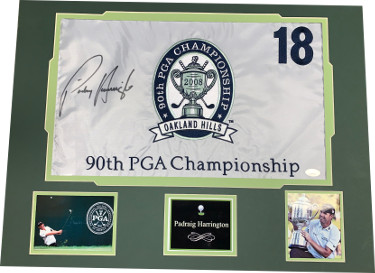 Padraig Harrington signed 2008 90th PGA Championship Golf Pin Flag Oakland Hills Matted w/ Photos- JSA Holo #DD39373 (18x24)