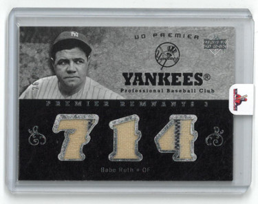 Babe Ruth New York Yankees 2007 Upper Deck Premier Remnants 3 Game Used Baseball Card- LTD 26/75- PR3-BR