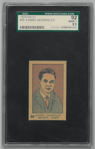 Johnny Weismuller Swimming Champ 1926 W512 Trading Card- SGC Graded 92 Near Mint-Mint+