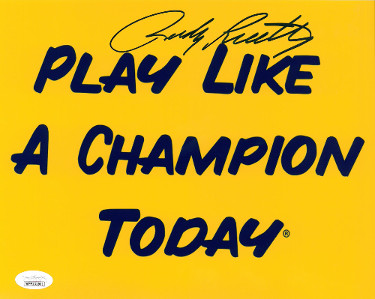 Rudy Ruettiger signed Notre Dame Fighting Irish Play Like a Champion 8x10 Photo- JSA Witnessed Hologram