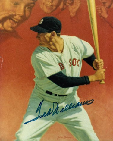 Ted Williams signed Boston Red Sox Photo minor side tear- JSA Hologram Y41293 & Full Letter