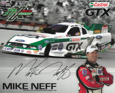 Mike Neff signed Castrol GTX Mustang Funny Car NHRA Racing 8x10 Photo