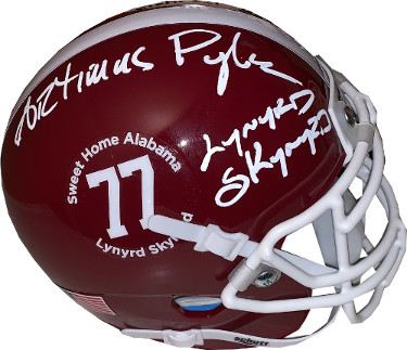 Artimus Pyle signed Lynyrd Skynyrd Alabama Crimson Tide Schutt Football Mini Helmet #77- JSA Witnessed Hologram