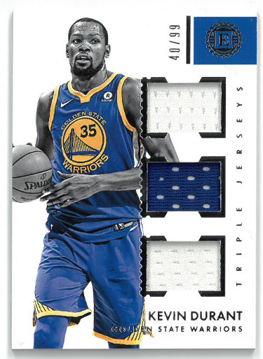 Kevin Durant Golden State Warriors 2017-18 Panini Encased Triple Game Used Jersey Basketball Card #TJ-KD- LTD 40/99