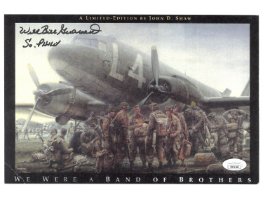 Wild Bill Guarnere signed WWII Band of Brothers 101st Airborne Easy Company 506th 8.5x11 Photo So Philly-JSA (Valor- Airplane)