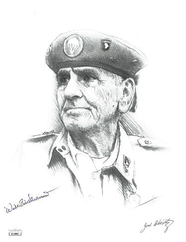 Wild Bill Guarnere signed WWII Band of Brothers 101st Airborne Easy Company 506th B&W 8.5x11 Photo- JSA Hologram (beret sketch)