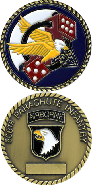 Army 101st Airborne Division 506th Military Logo Flag Challenge 2-Sided Coin