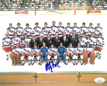 Mike Eruzione signed 1980 Team USA Olympic Hockey 8x10 Photo- JSA Holo #DD64294 (Miracle on Ice)