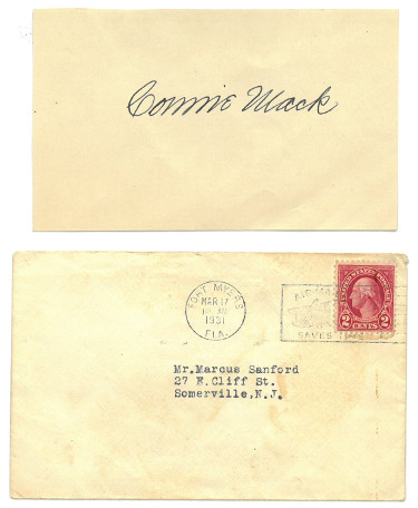 Connie Mack signed 3x5 Index Card w/ 1931 Envelope- JSA LOA #BB18786