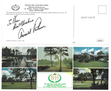 Arnold Palmer signed The Bay Hill Club Golf 9x3.5 Postcard/photo To Van Best Wishes- JSA Hologram #DD64333