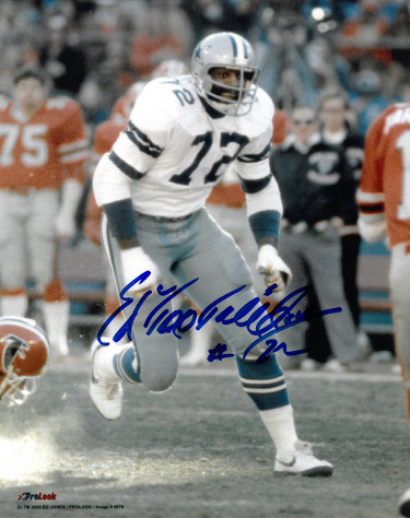 "Ed ""Too Tall"" Jones signed Dallas Cowboys 8x10 Photo #72 (vs Falcons)"