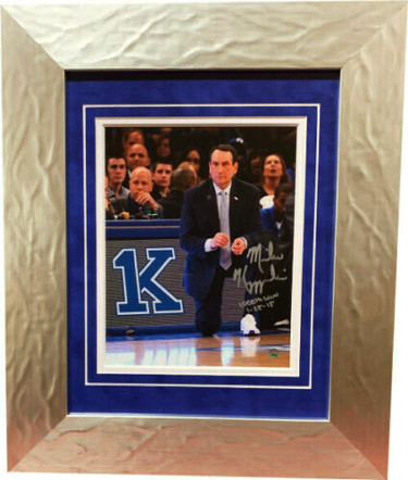 "Mike Krzyzewski signed Duke Blue Devils 1000th Win 8x10 Photo Custom Framing ""1000th Win 1-25-15"" (Coach K) imperfection-Steiner"