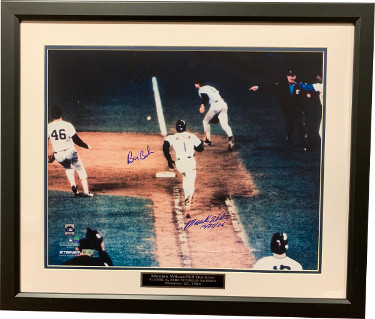 Bill Buckner (Red Sox) & Mookie Wilson (Mets) dual signed 86 World Series 16x20 Photo Custom Framing 10-25-86 imperfect-MLB Holo