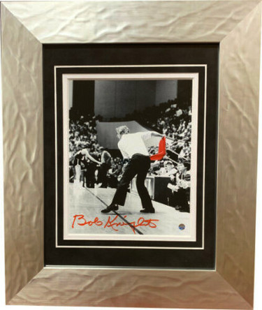 Bobby Knight signed Indiana Hoosiers 8x10 B&W Spotlight Photo Custom Framing Red Chair Toss (red sig) imperfection- Steiner Holo