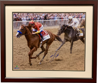 Mike E. Smith signed Justify 2018 Belmont Stakes 16X20 Photo Custom Framing Triple Crown- Steiner Hologram